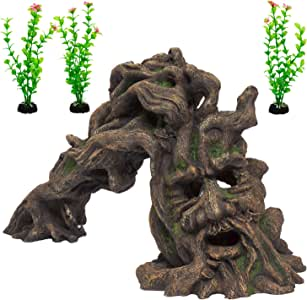 Fish Tank Accessories – A Unique Aquarium Decoration Set- Fish Tank Ornament and Plants (3 piece) – Resin 'Tree Monster' and Tall Natural Looking Plants - Provides Structure and Shelter for your Aquatic Pets - Shiny Blue