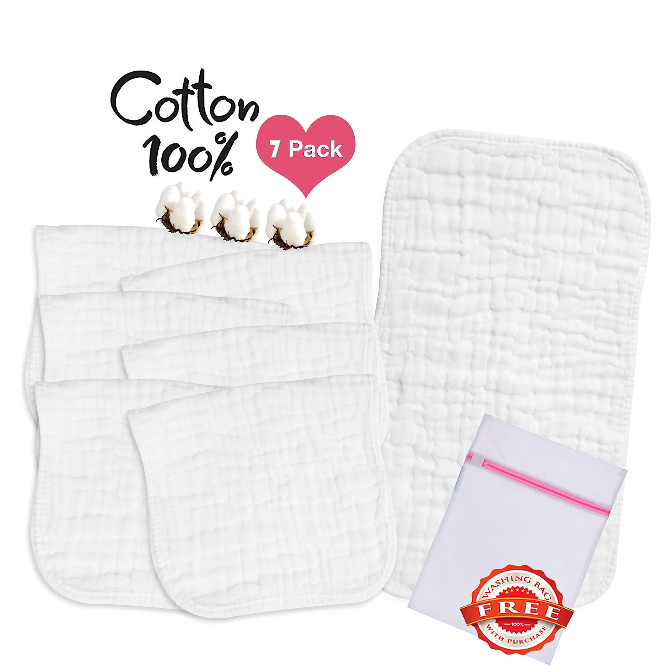 Muslin Burp Cloths''100% Organic Cotton'',Baby Burp Cloth,Newborn Burping Rags - Great Baby Shower Gift,Plain White,7 Pack, Large 20''x10'', 7Layer Design by LOVEMY