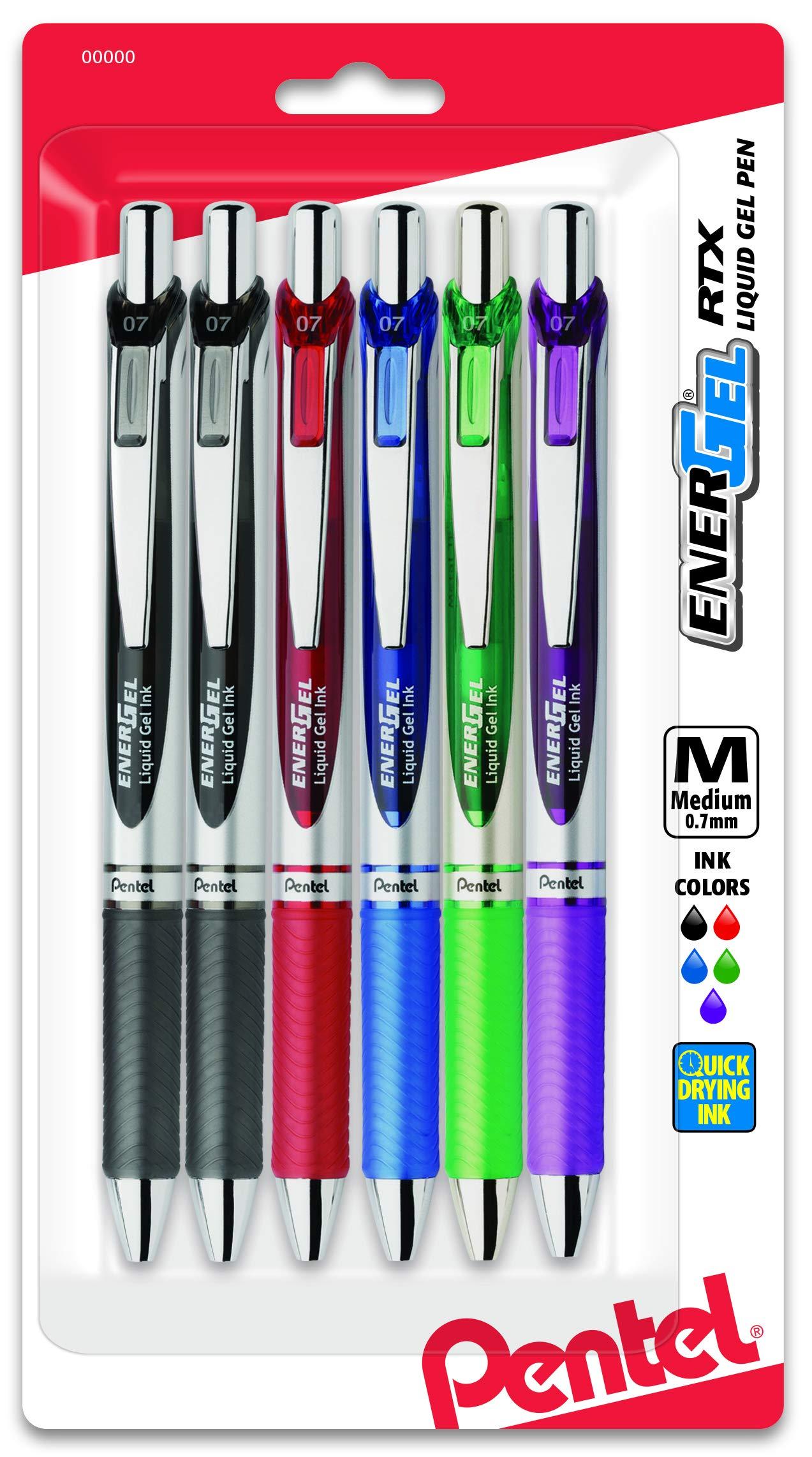 Pentel EnerGel Deluxe RTX Gel Ink Pens, 0.7 Millimeter Metal Tip, Assorted Colors,  6 Pack (BL77BP6M) by Pentel