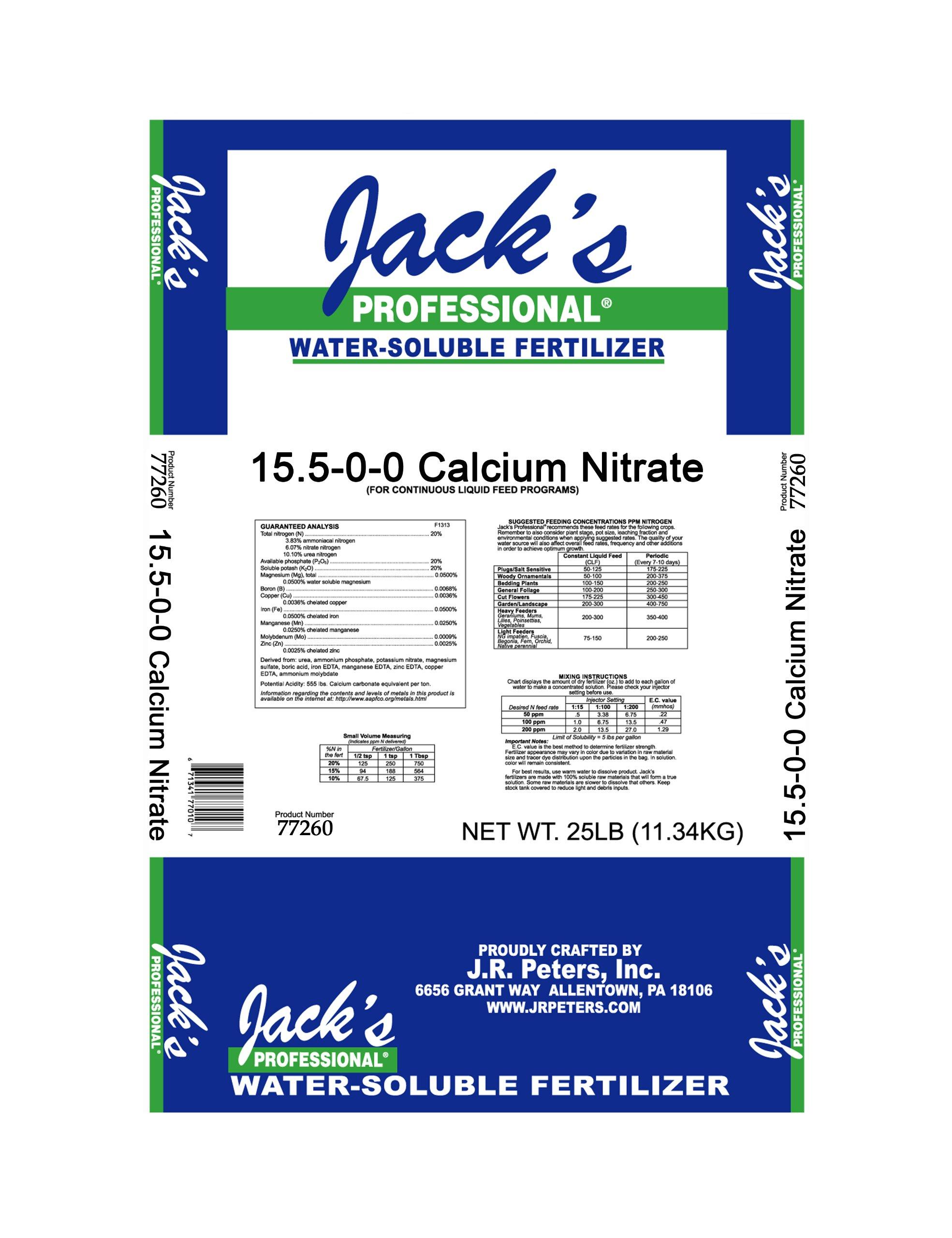 JackS Calcium Nitrate 15.5% Nitrogen 18% Calcium 25lb Bag Professional