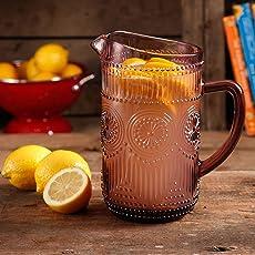 The Pioneer Woman Adeline 1.59-Liter Glass Ice Tea Water Pitcher Bar Drinkware, Plum (1, Plum)