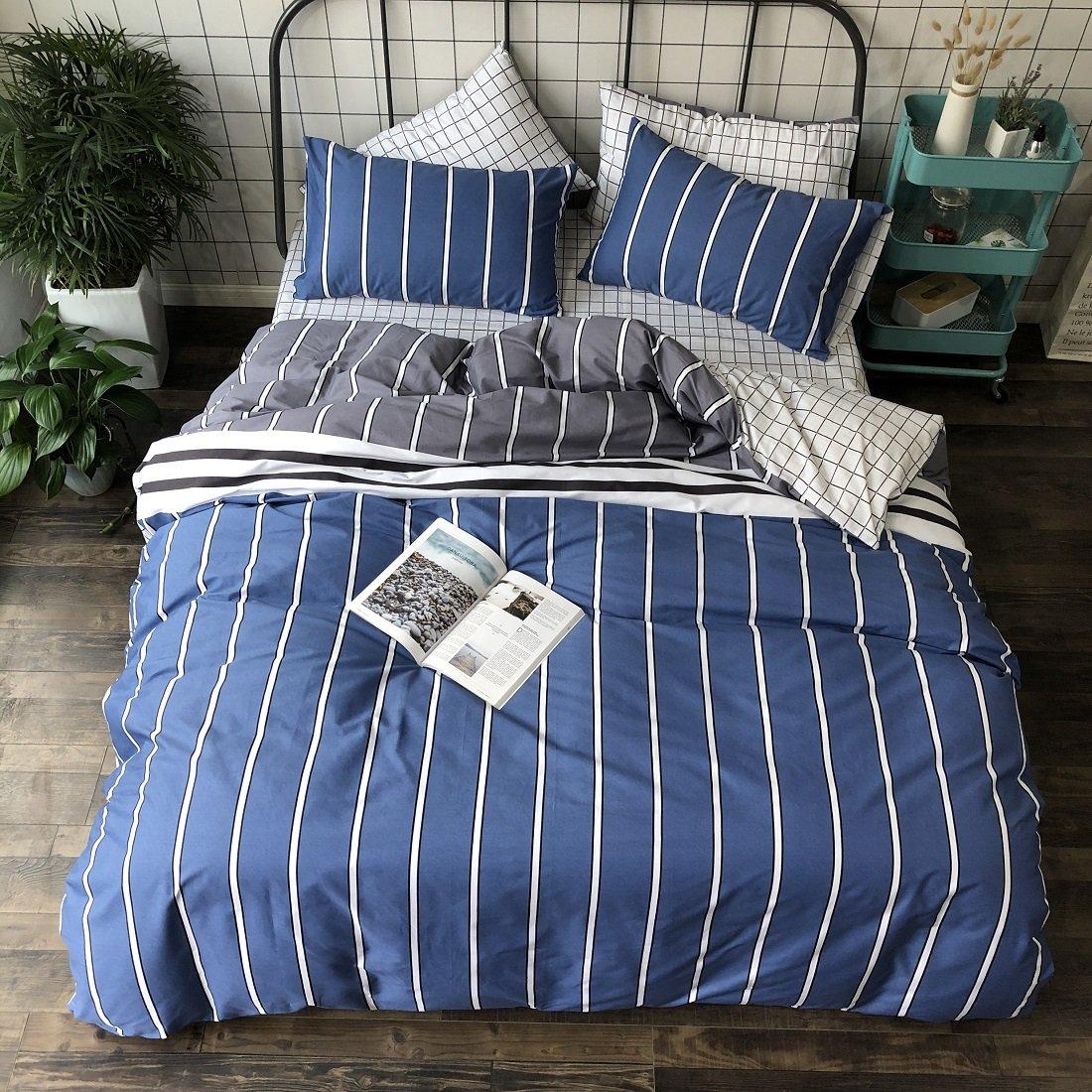 Jane yre Geometric Blue Stripe Pattern Duvet Cover Set Queen Size 100 Cotton Comforter Luxury 3 Piece Stripe Bedding Sets Full Size Reversible Duvet Cover Set White with Hidden Zipper