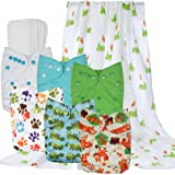 Wegreeco Washable Reusable Baby Cloth Pocket Diapers 6 pack + 6 Bamboo Inserts (with 1 Muslin Receiving Blanket,Neutral Prints)