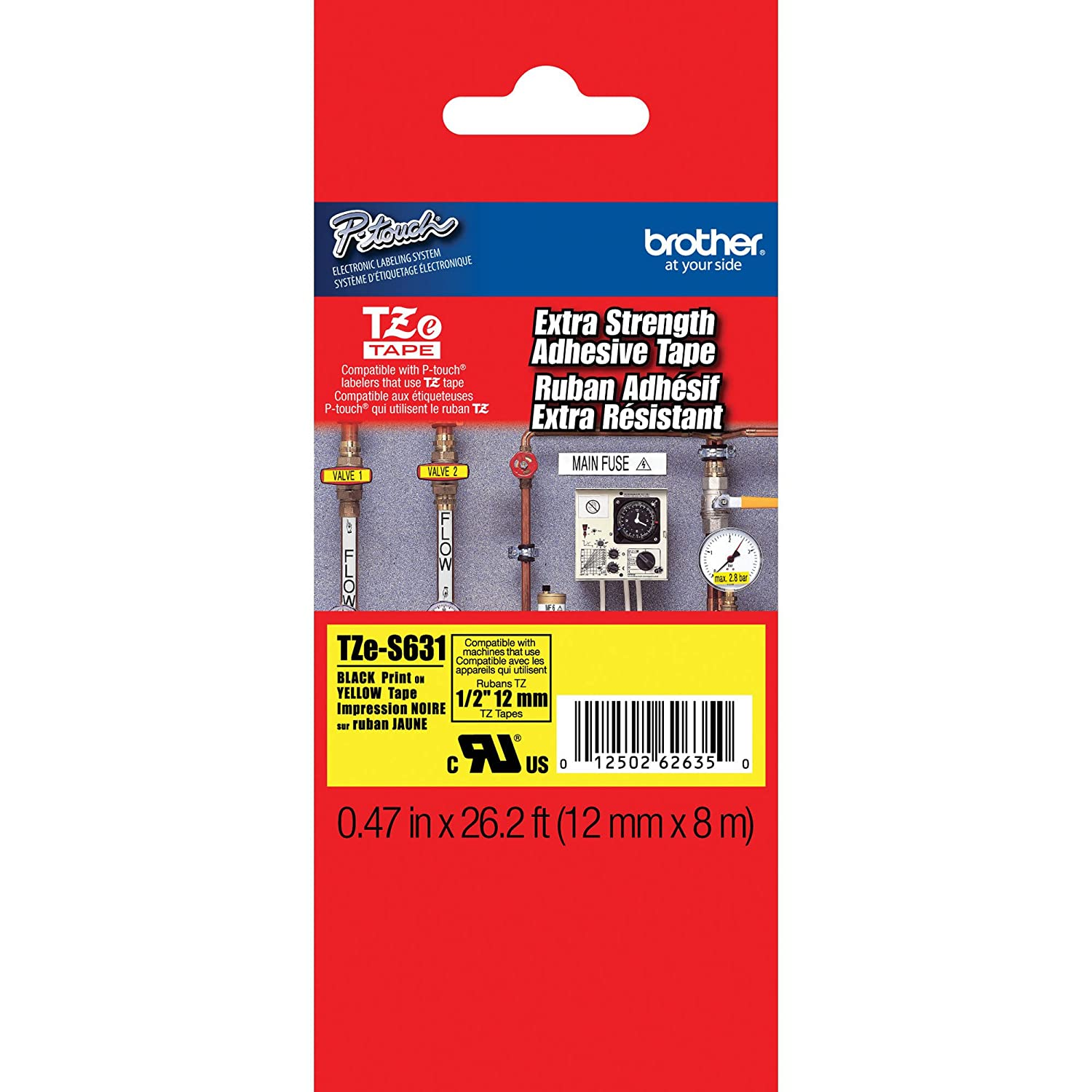 Brother TZeFA3 Fabric Navy Blue on White Iron on Tape, 1/2-Inch, Retail Packaging