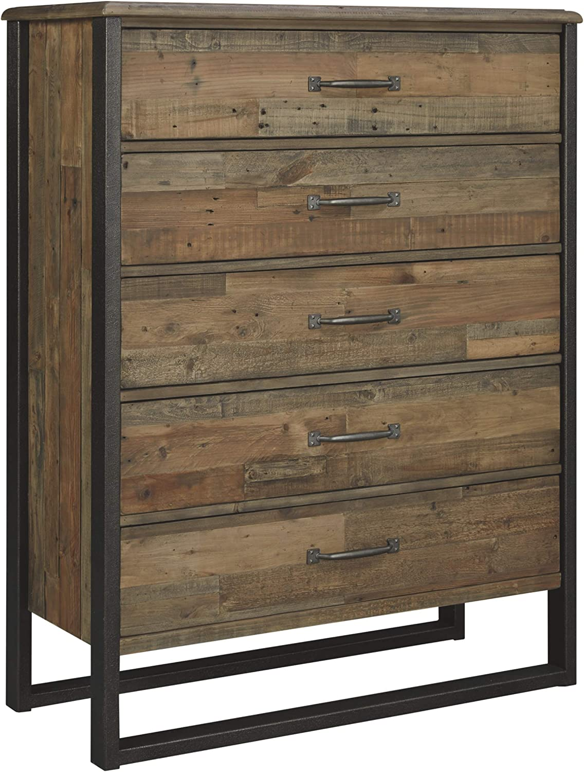 Ashley Furniture Signature Design - Sommerford Chest - Casual - 5 Drawers - Light Grayish Brown Finish Reclaimed Wood - Silver/Bronze Hardware/Legs