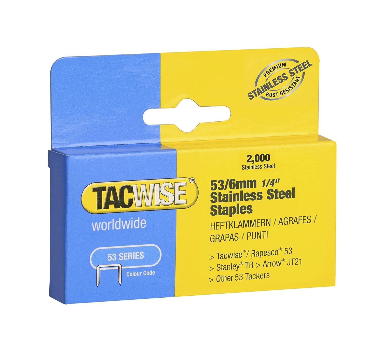 Tacwise 1270 53 x 10 mm acero inoxidable grapas (2000 piezas)