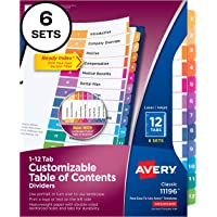 Deals on Avery Ready Index 12-Tab Binder Dividers 6 Sets