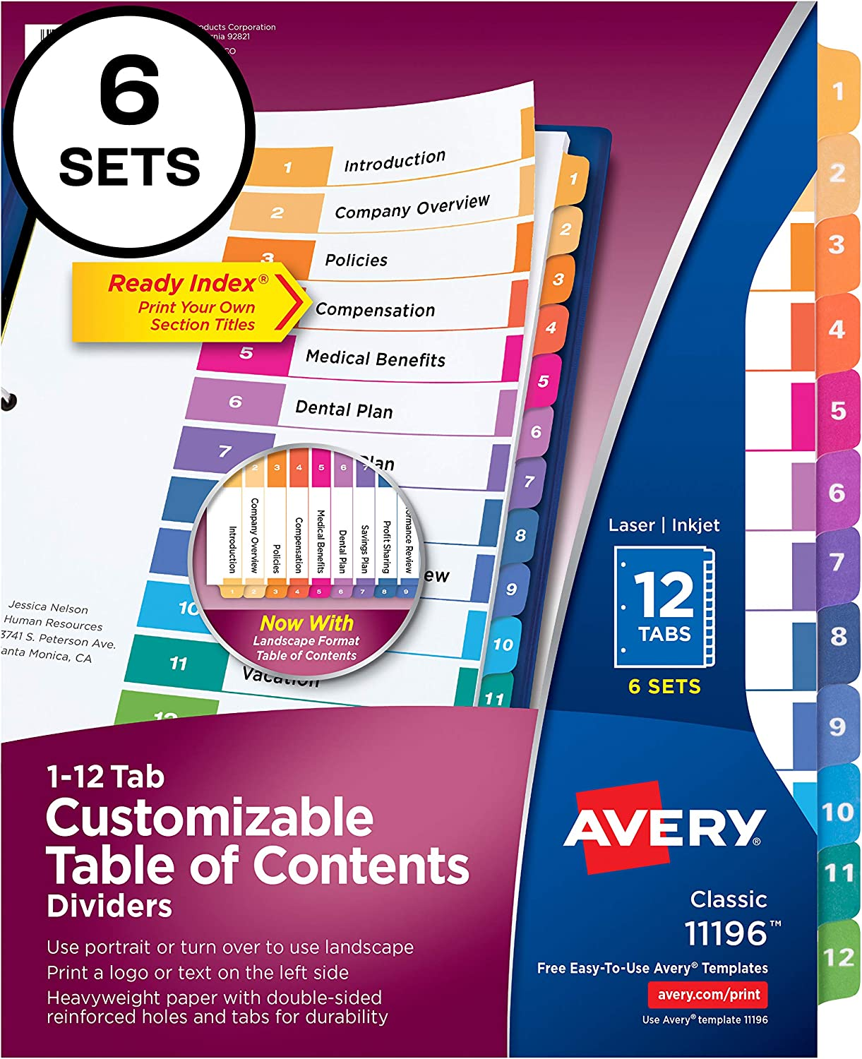 Avery Ready Index 12-Tab Binder Dividers, Customizable Table of Contents, Multicolor Tabs, 6 Sets (11196) : Binder Index Dividers : Office Products