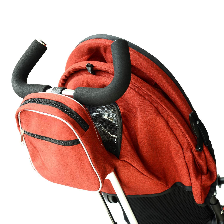 Homcom Dreirad Kinder Toilettentrainer Kinderwagen Gehstock Elternschaft Sonnenblende faltbar Tasche 96/x 54L x 101/cm Eisen ziegelrot und schwarz