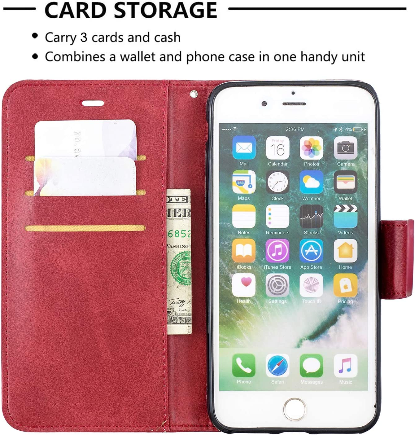 8 Plus LOBFE150026 Red Lomogo iPhone 7 Plus//iPhone 8 Plus Case Leather Wallet Case with Kickstand Card Holder Shockproof Flip Case Cover for iPhone 7 Plus