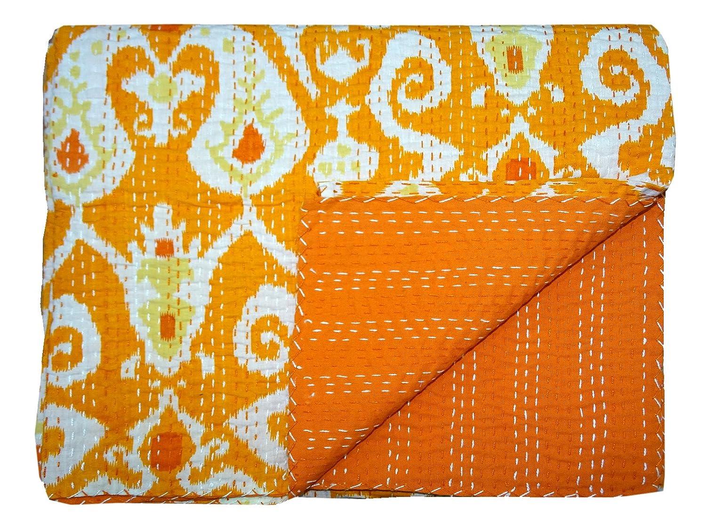 Bhavya International Cotton Kantha Quilt Handmade Orange Paisley Bedspread Throw Twin Size Gudari/Blanket/Bedcover