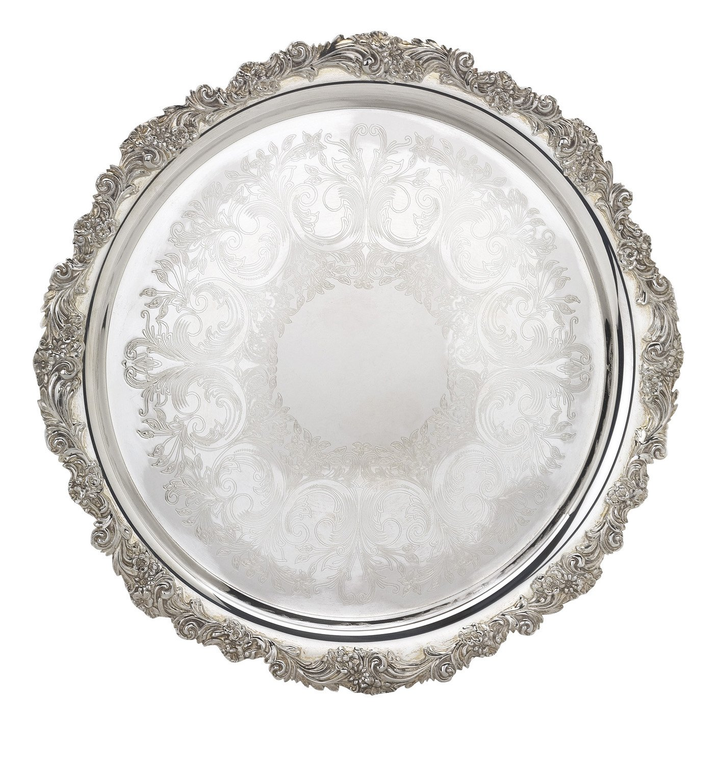 Reed & Barton S-2302 Silver Plated Engravable Round Tray, 13-Inch, Burgundy by Reed & Barton (Image #1)