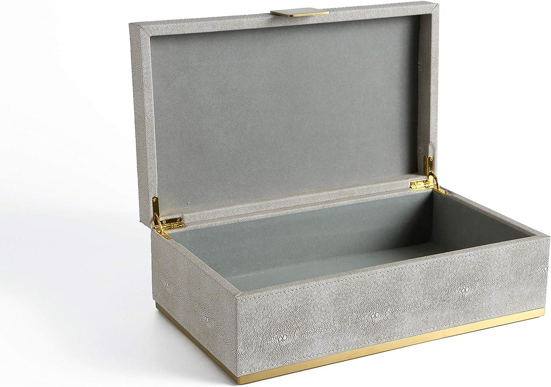 WV Faux Ivory Shagreen Leather Dresser Organizer, Desk's Top Organizer, Storage Box, Jewelry Box for Men's Accessories, Women's Cosmetic (Ivory, 14x8.3 inch)