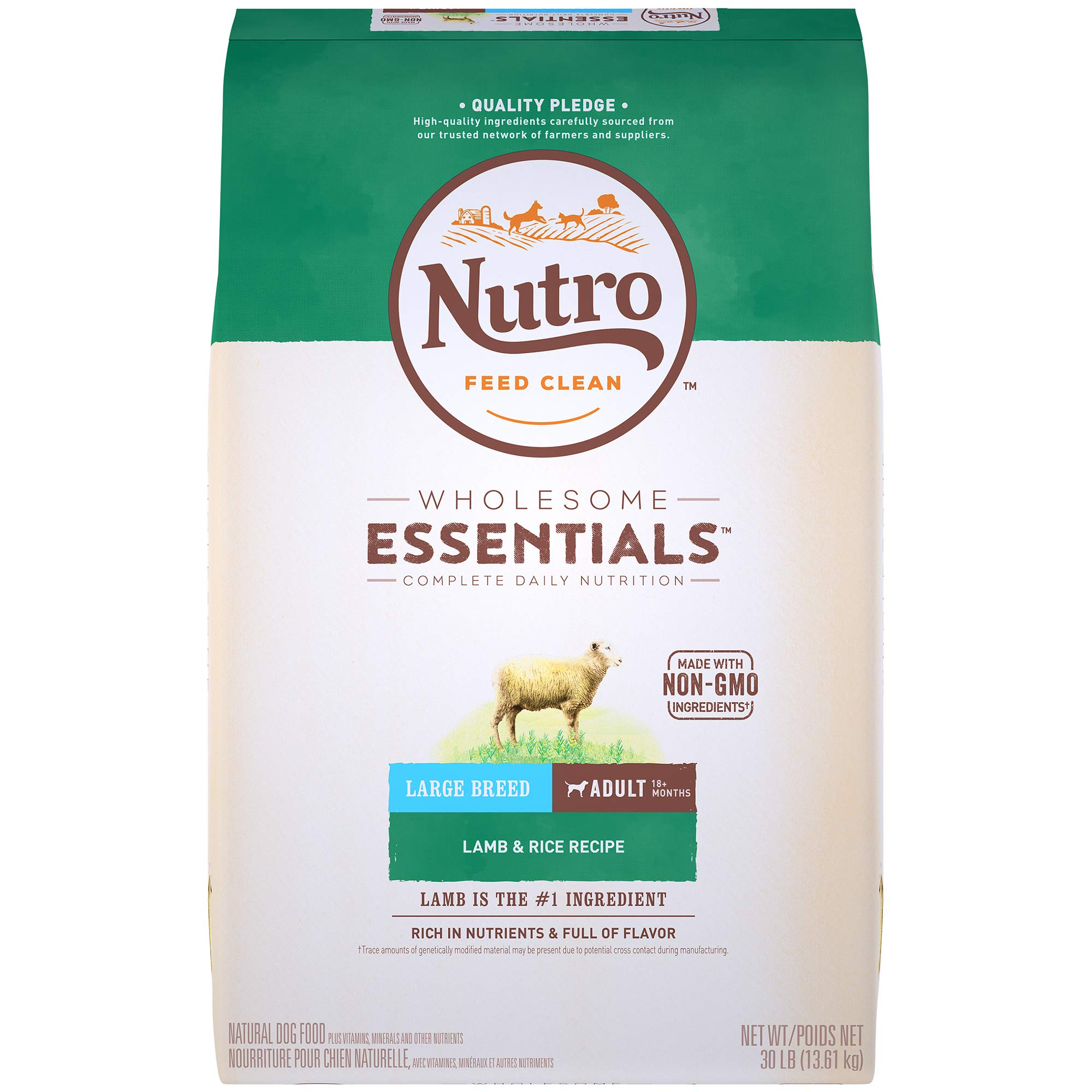 NUTRO WHOLESOME ESSENTIALS Adult Large Breed Natural Dry Dog Food Lamb & Rice Recipe, 30 lb. Bag by Nutro