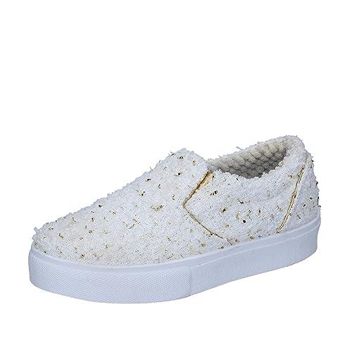 2 STAR - Mocasines de Tela para Mujer Bianco/Oro Size: 36: Amazon.es: Zapatos y complementos