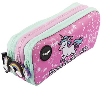 Estuche para lápices de 3 compartimentos FRINGOO, para niños, divertido y bonito, color Born To Sparkle - 3 Compartments Large