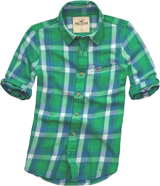 Hollister - Camisa casual - con botones - Cuadrados - Manga Larga - para hombre Grün Plaid 52: Amazon.es: Ropa y accesorios