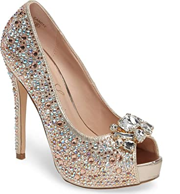 f48db13f04f Lauren Lorraine Candy 2 Rose Gold Broach Shimmer Rhinestones Peep Toe  Platform Dress Pump (7