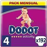 Dodot Activity - Pañales talla 4, 9-14 kg, pañales con ajuste más resistente, 192 unidades
