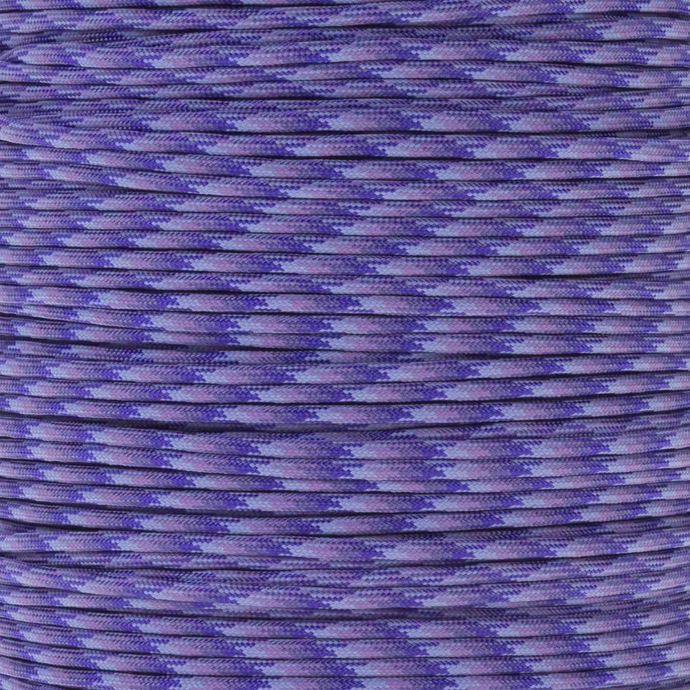 PARACORD PLANET 10 20 25 50 100 Foot Hanks and 250 1000 Foot Spools of Parachute 550 Cord Type III 7 Strand Paracord (Purple Blend 25 Feet)