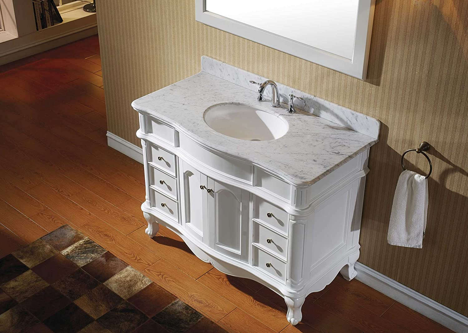 Virtu ES-27048-WMRO-WH Norhaven Single Bathroom Vanity Cabinet Set, 48