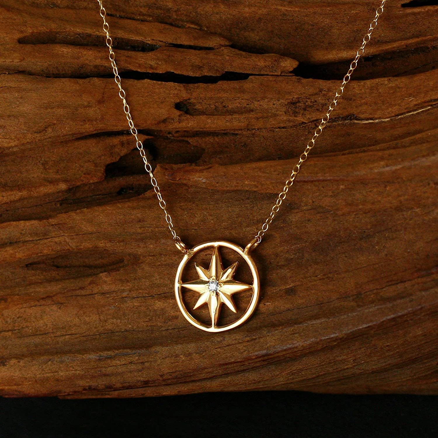 Amazon Com Dainty 14kt Gold Compass Rose Necklace With Diamond In