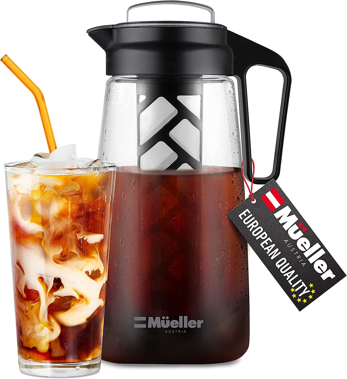 Mueller Cold Brew Maker for Coffee and Tea, 2 Quart Heavy-Duty Tritan Pitcher with Easy To Clean Reusable Mesh Filter