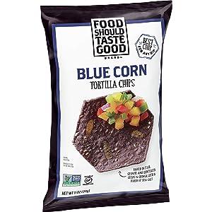 Food Should Taste Good Tortilla Chips Gluten Free non-GMO Blue Corn 11.0 Oz Bag