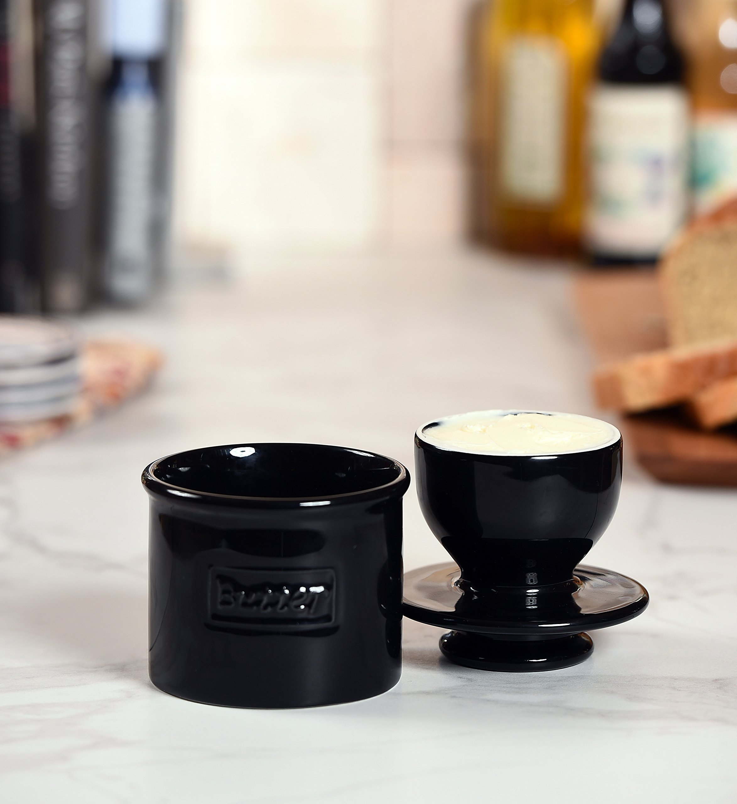 The Original Butter Bell Crock by L. Tremain, Café Retro Collection, Butter Keeper - Glossy Midnight Black by Butter Bell (Image #3)