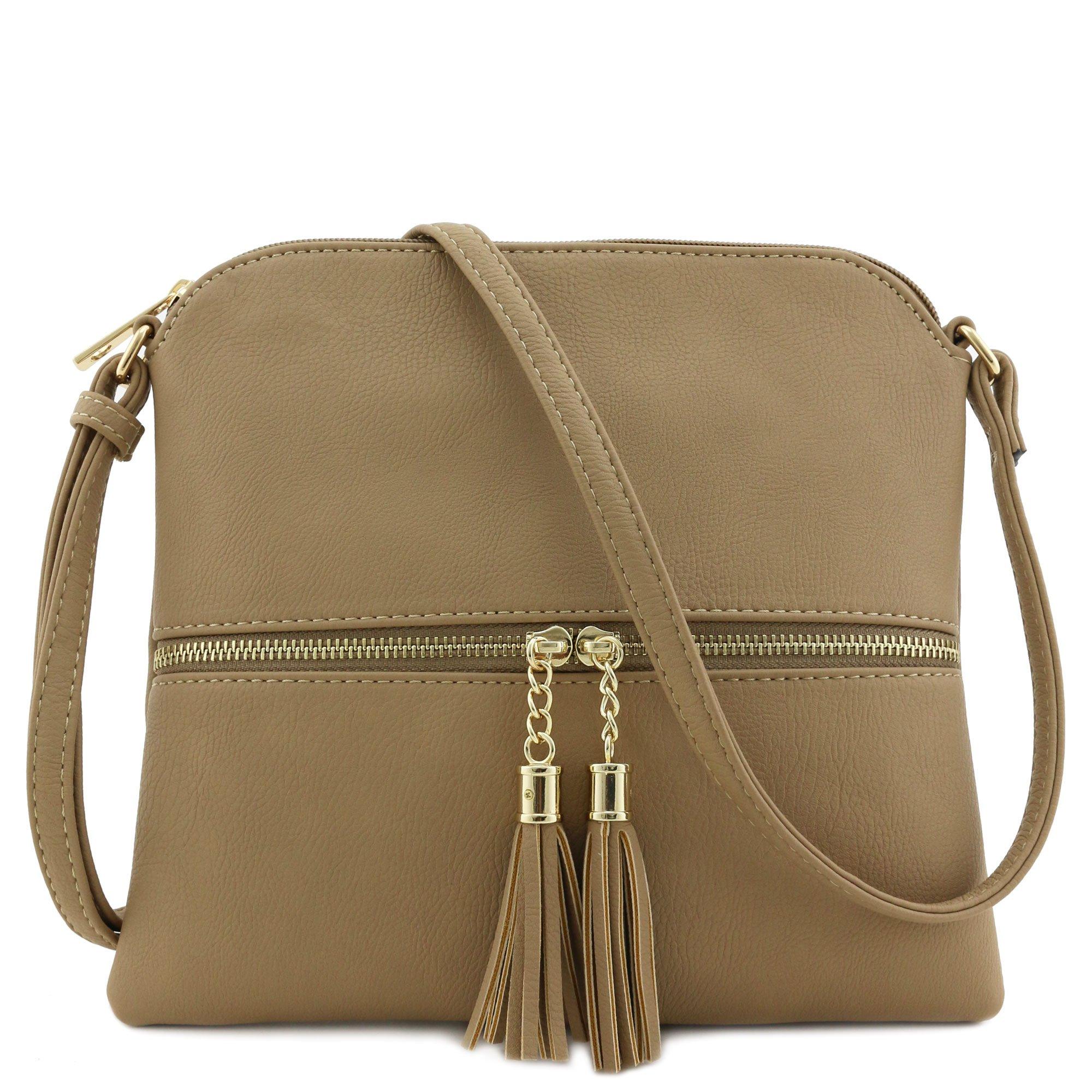 Lightweight Medium Crossbody Bag with Tassel (Taupe)