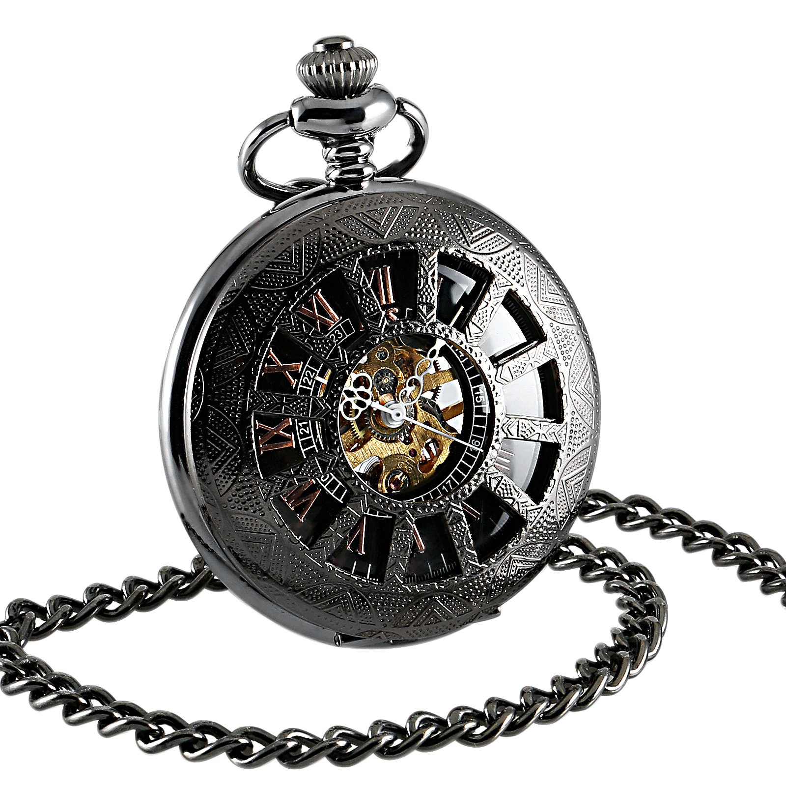 ESS Hand-Winding Mechanical Watch Pendant Gift Black Silver Mens Sport DAD
