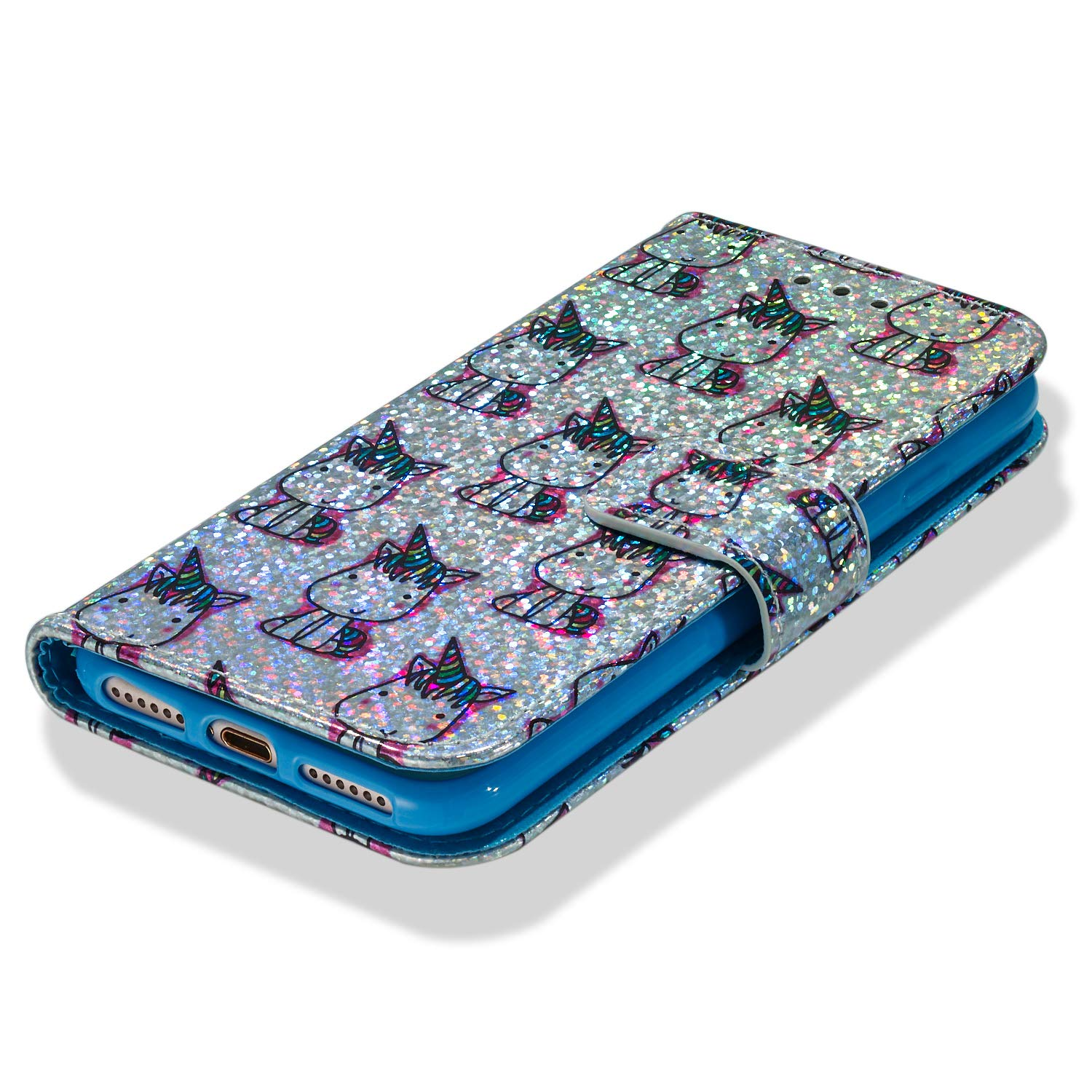 Tznzxm iPhone 7//8 Case Luxury Cartoon Design Glitter Sparkle PU Leather Card Slot Holder with Kickstand Wrist Strap Magnetic Closure Defender Protective Flip Wallet Case for iPhone 7//8 Hippocampus