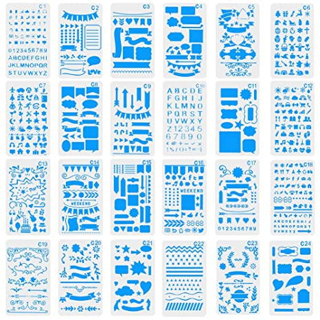Card and Art DIY Craft Projects Drawing Painting Template Stencil Set 4x7 Inch with Storage Bag Notebook CCMART 24Pcs Journal Stencils Plastic Planner Stencils Letter Stencils for Journaling Diary