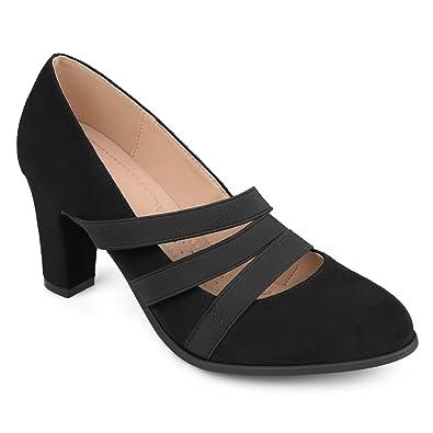 80e574926a1cc Journee Collection Comfort Sole Triple Elastic Strap Chunky Heels Black,  7.5 Regular US