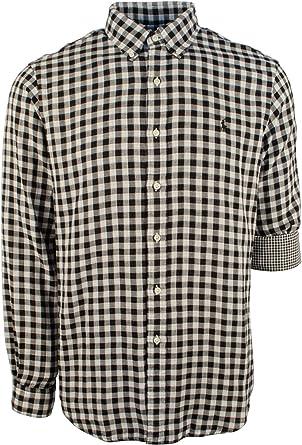 Alion Mens Cotton Long Sleeve Slim Plaid Classic Button Down Shirt