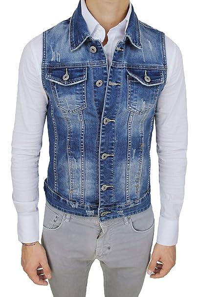 size 40 9afbe d880a AK collezioni Giubbotto Smanicato di Jeans Uomo Blu Denim Cardigan Gilet  Giacca Casual