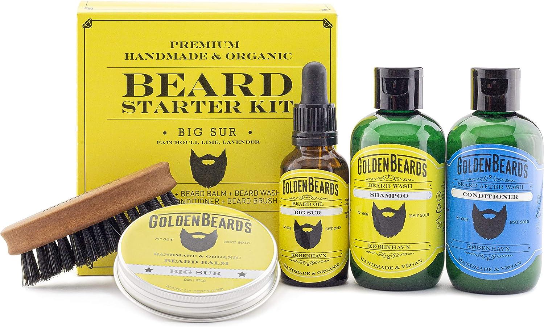 Kit Cuidado de Barba Kit de Regalo que contiene:1 Champú & Acondicionador 1 Aceite 1 Bálsamo y un Peine de viaje de máxima calidad. Olor a Pachulí, Lima y Lavanda Big Sur Golden Beards