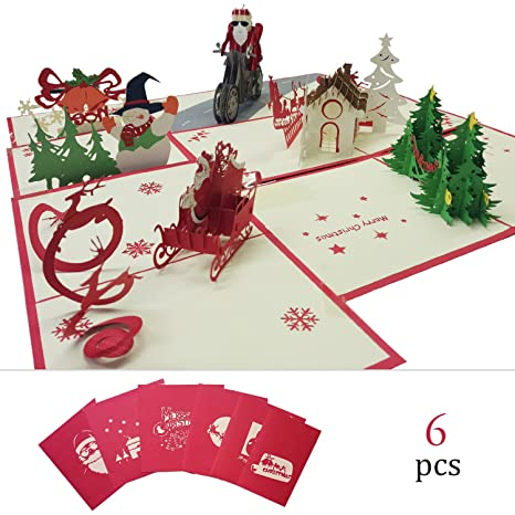 Amazon christmas pop up 6 pack 3d cards winter holiday christmas pop up 6 pack 3d cards winter holiday greeting card with christmas trees santa m4hsunfo