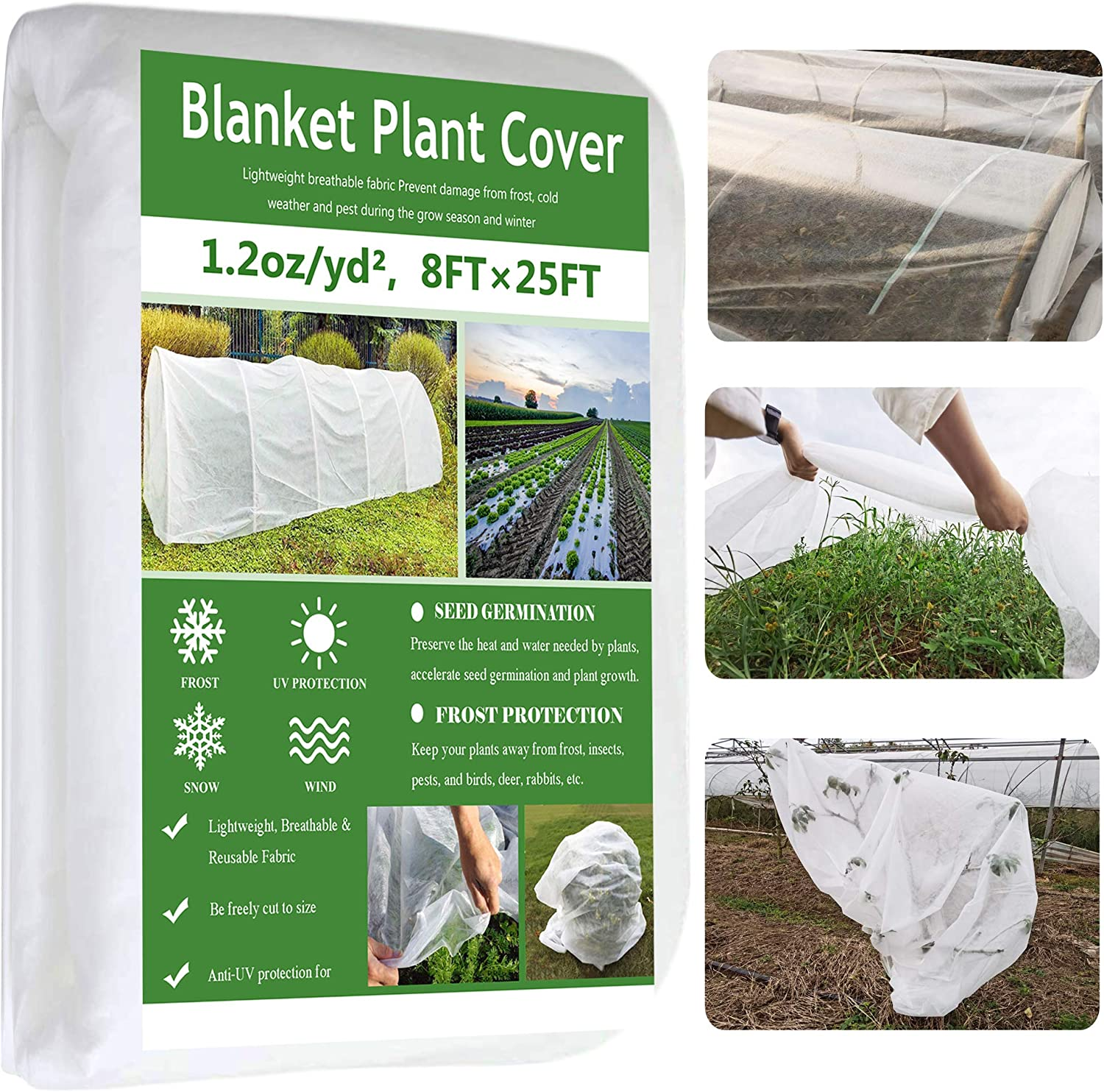 Garden EXPERT Plant Covers Freeze Protection Floating Row Cover Thickened 1.2oz Fabric Frost Cloth Plant Blanket for Plants & Vegetables in Winter(8FTx25FT)