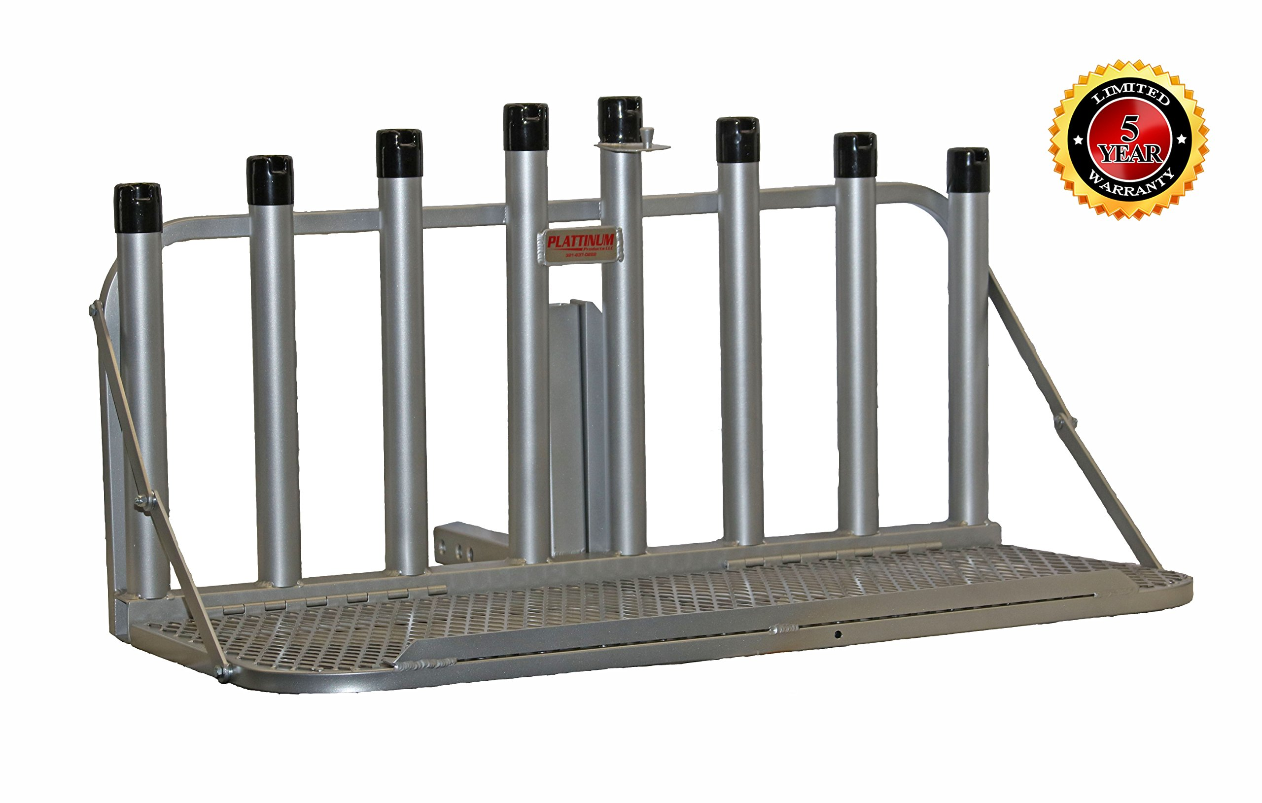 Fishing Rod Holder Rack with Fold Down Platform (Mill Finish) by Plattinum Products
