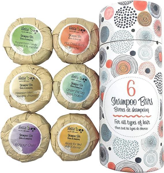 Champú para el cabello orgánico en barra paquete de 6 70g | Jabón para el cabello anticaspa con aceite esencial natural para el cuero cabelludo que ...