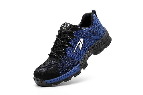 Aizeroth-UK Unisex Hombre Mujer Zapatillas de Seguridad con Punta de Acero Antideslizante S3 Zapatos