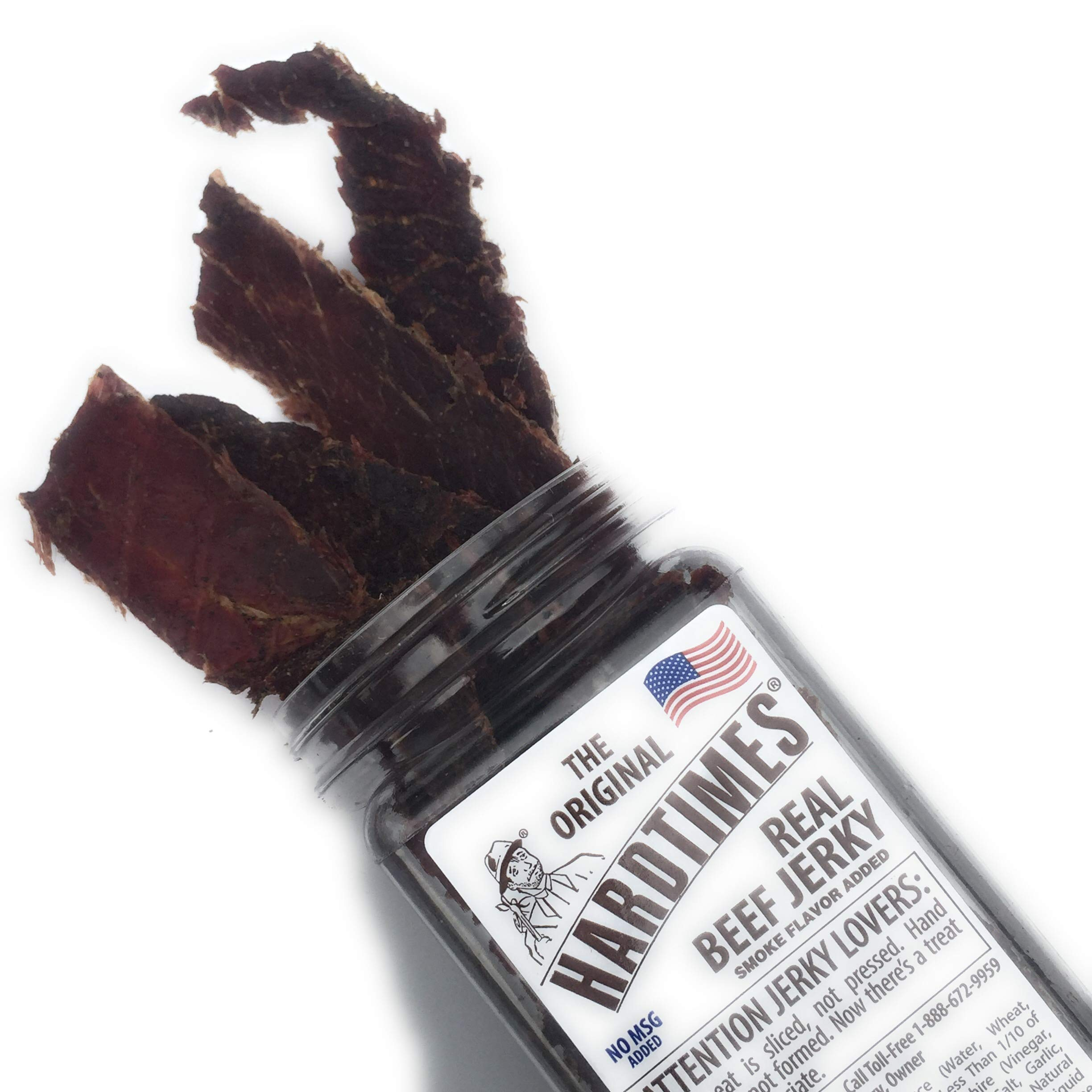 HARD TIMES 8oz Jar Original Real Beef Jerky Sliced Hand Trimmed Dry Tough Jerky For HardTimes by hard times (Image #2)