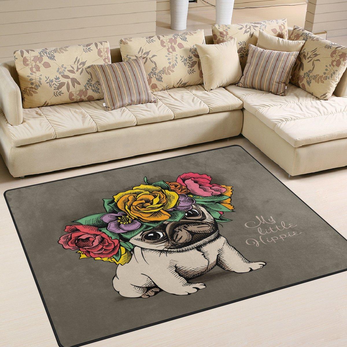 Use7 Teppich, Motiv Mops, Hund im Blumenkopf, Kranz, Retro-Teppich, für Wohnzimmer, Schlafzimmer, Textil, Mehrfarbig, 203cm x 147.3cm(7 x 5 feet)