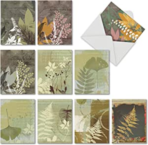 10 Assorted Note Cards with Envelopes - 'Layered Leaves' Blank Greeting Cards - Elegant All-Occasion Plant and Fern Stationery Notecards for Weddings, Baby Showers, Sympathy - NobleWorks M2985OCB