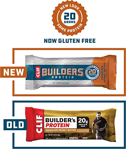 CLIF BUILDERS - Protein Bars - Chocolate Peanut Butter Flavor - 20g Protein 2.4 Ounce, 6 Count Now Gluten Free