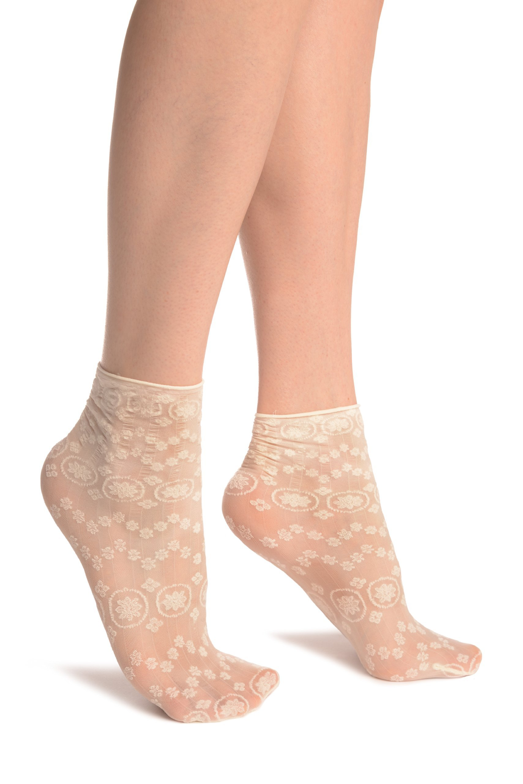 Cream Water Lilly With Comfortable Top Ankle High Socks - Socks