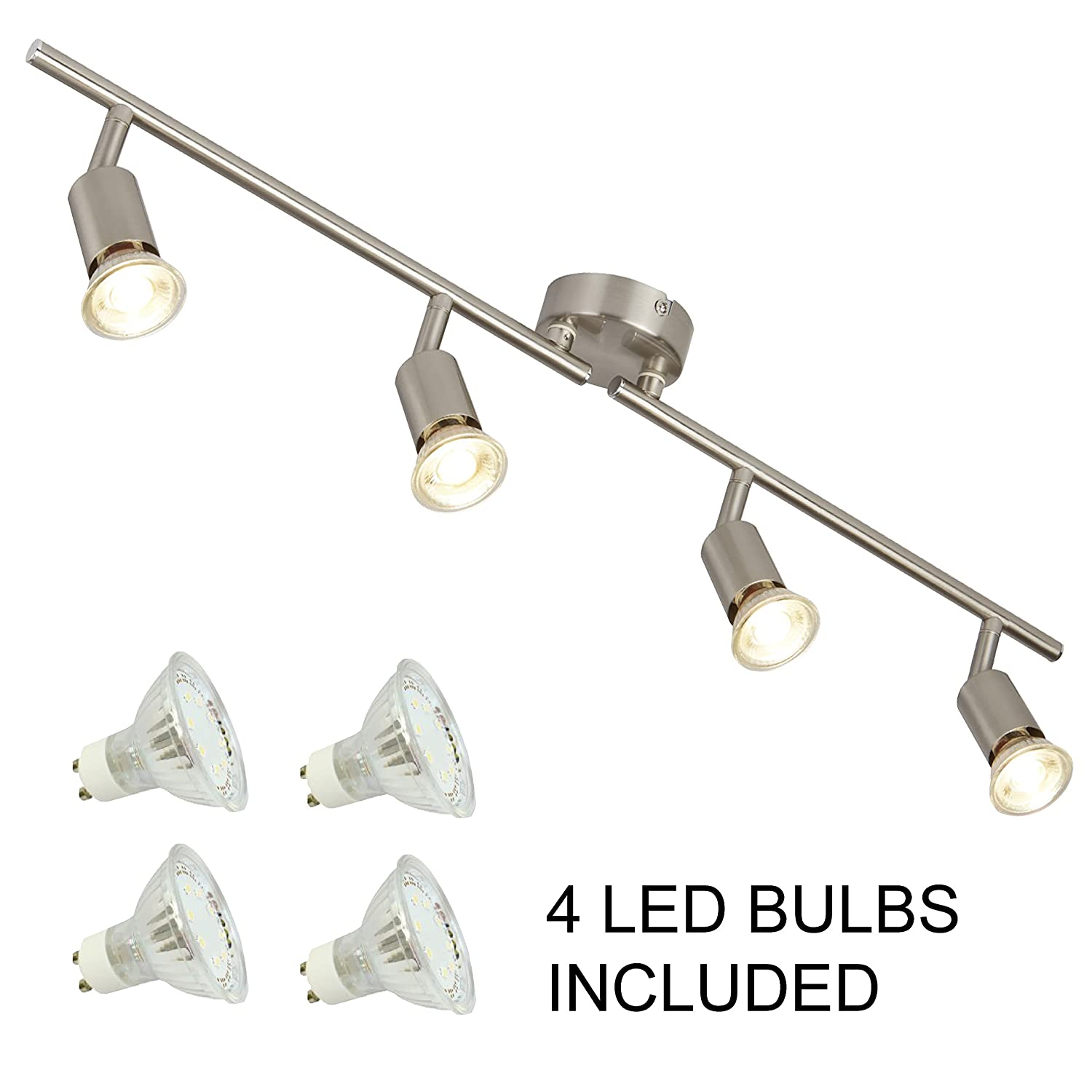 4 Bar Ceiling Spotlight in Satin Silver with 4 2W Led Bulbs by Laeto Lighting Ideal for Kitchen Bedroom Lounge Office Searchlight Electric