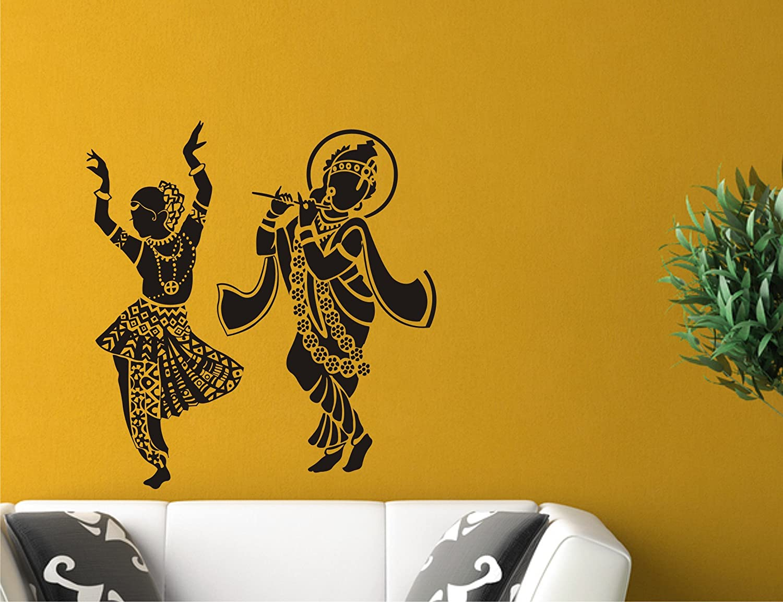 Buy Beautiful radha krishna black Wall Sticker And Wallpaper Size(59 ...