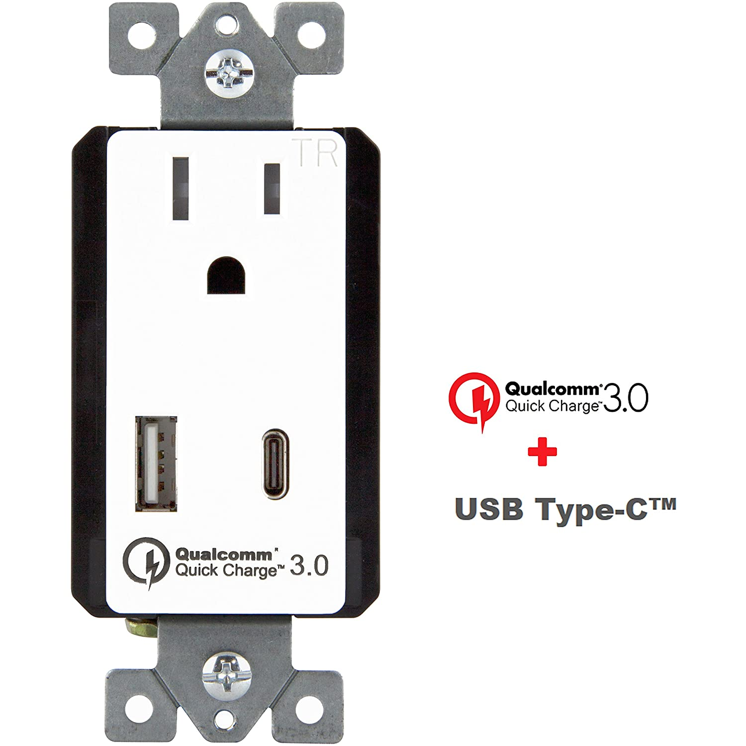 Topgreener Quick Charge 30 Usb In Wall Charger Outlet Type C With Phone Jack Install Home Wiring A Tu1152qcac3 For Samsung Galaxy S7 S6 Edge Plus Lg G3 G5 Nexus 6 Iphone 7